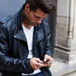 Man using busy smart phone — Stock Photo #69202963