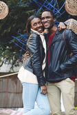Laughing couple on christmas vacation — Stock Photo