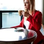 Attractive businesswoman on a coffee break — Stock Photo #73328309