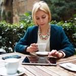Businesswoman while coffee break — Stock Photo #73328783