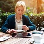 Businesswoman while coffee break — Stock Photo #73328789