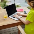 Female freelancer sitting front laptop — Stock Photo #74411721