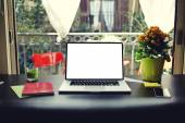 Laptop with blank copy space empty screen for your content or text message — Stock Photo