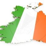 Map illustration of Ireland with flag — Stock Photo #53855777