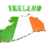 Map illustration of Ireland with flag — Stock Photo #53855783