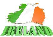 Map illustration of Ireland with flag — Stock Photo