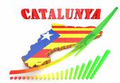 Map illustration of Catalonia with flag — Stock Photo
