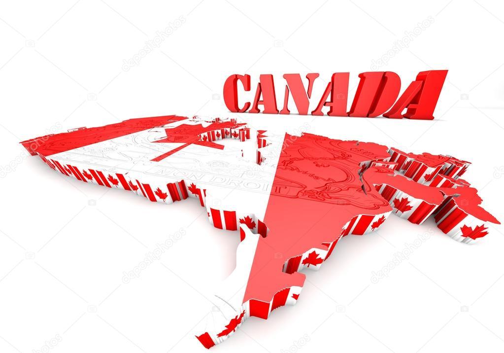加拿大的国旗颜色的地图