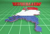 Map illustration of Netherlands with flag — Stock Photo