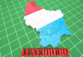 Map illustration of Luxembourg with flag — Stock Photo