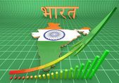 Map illustration of India with flag — Stock Photo