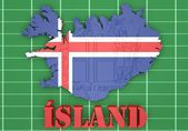 Map illustration of Iceland with flag — Stock Photo