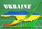 Map illustration of Ukraine with flag — Stock Photo