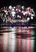 Fireworks in Big Eeuropean city Riga — Stock Photo