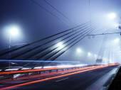 Vansu Bridge lights in fog ,Riga — Stock Photo