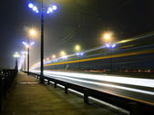 Stone Bridge lights in fog ,Riga — Stock Photo