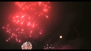 Фейерверк в большом европейском городе Риге, дне независимости — Стоковое видео