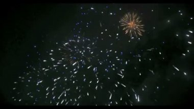 Fireworks in Big Eeuropean city Riga, Independence day — Stock Video