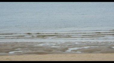 Sand beach in Baltic sea , Riga Latvia — Stock Video