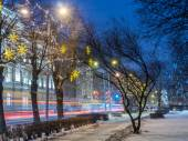NIght view of Riga street in Christmass — Stock Photo