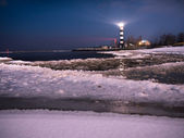 Riga Lighthouse in a starry night — Stock Photo