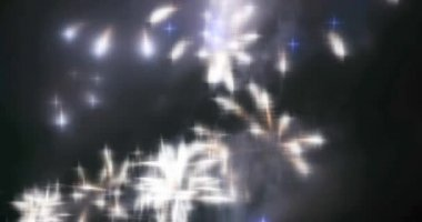 Blurred fairy lights from fireworks background. — Stock Video