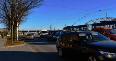 Blurred traffic jams in the city, road, rush hour — 图库视频影像