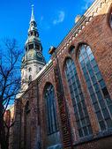 Latvia Riga City's historical center - Unesco world heritage site Saint Peter's Church  — Stock Photo