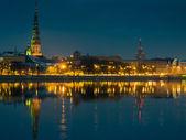 Quay of Daugava river in Riga, — Stock Photo