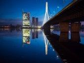Pohled na řeku Riga a Vansu most — Stock fotografie