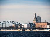 Evening view of quay Daugava rive in Riga. — Stock Photo