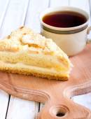 Slice of apple cheesecake  — Stock Photo