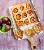 Coconut and plum cake — Stock Photo