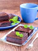 Chocolate and pumpkin brownie — Stock Photo