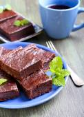 Chocolate and pumpkin brownie  — Stock Photo