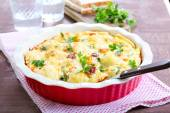 Cauliflower and sausage bake  — Stock Photo