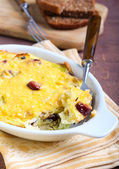 Cabbage and sausage gratin — Stock Photo