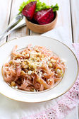 Pasta with cheese and nuts — Stock Photo