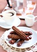 Chocolate Viennese fingers biscuits — Stock Photo