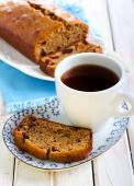 Slice of Date and coffee cake — Stock Photo