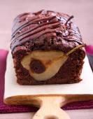 Chocolate pear loaf cake — Stock Photo