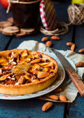 Tart with pear jam, apples and caramel  — Stock Photo