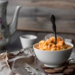 Pumpkin porridge with milk and honey, breakfast — Stock Photo #58348053