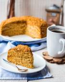 A piece of honey cake with sour cream and nuts — Stock Photo