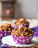Vegan oat muffins with dried fruits and nuts — Stock Photo