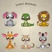 Cute Safari Animals collection — Stock Vector