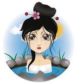 Femme détente dans le bain — Vecteur