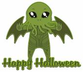 Cthulhu Happy Halloween sticker — Stock Vector