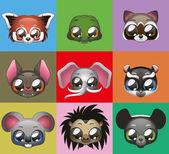 Animal heads — Cтоковый вектор