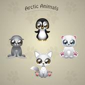Cute arctic animals — Stock Vector